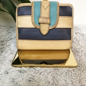 Fossil tan and dark blue leather wallet